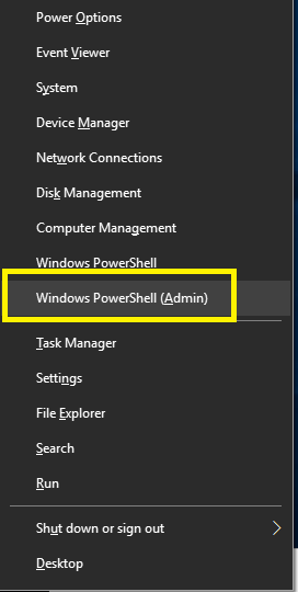 Press Windows +X and select the Command Prompt or PowerShell option