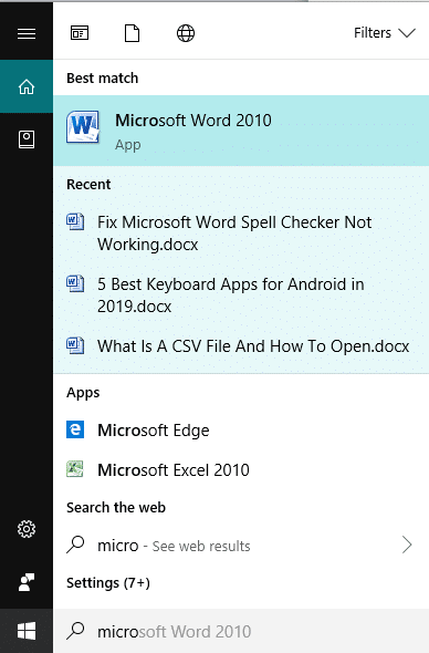 Search for Microsoft Word using search bar