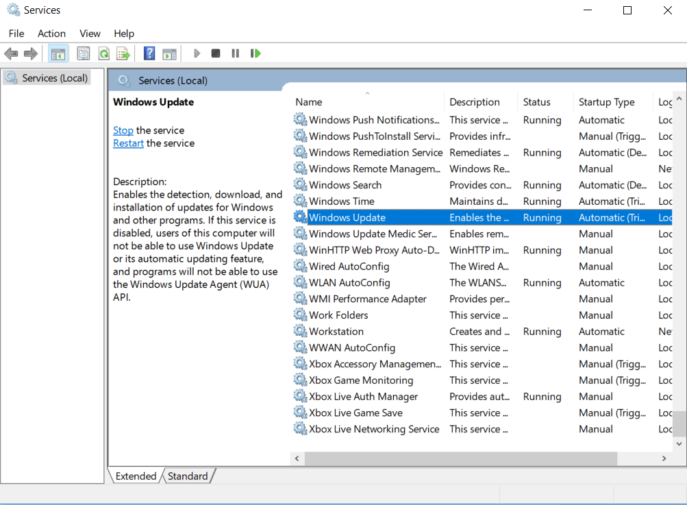 Search for Windows Update service, right click on it and select