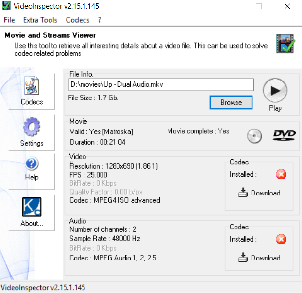See Video and audio codecs rows will be having an active download button