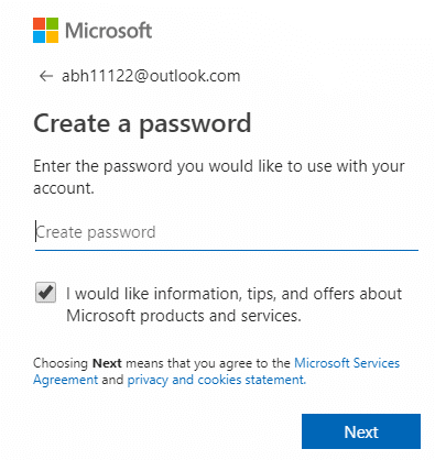 To create a password and click on Next
