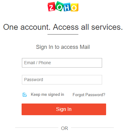 To use created Zoho account, enter the email and password and click on Sign-in.