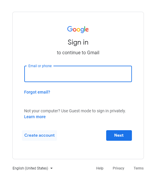 Visit gmail.com and click on create account button