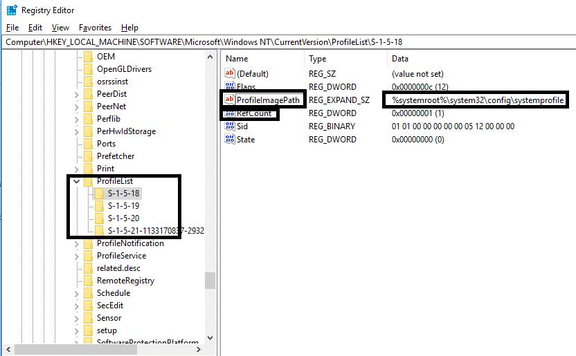 navigate to the path HKEY_LOCAL_MACHINE\SOFTWARE\Microsoft \Windows NT \ CurrentVersion \ ProfileList