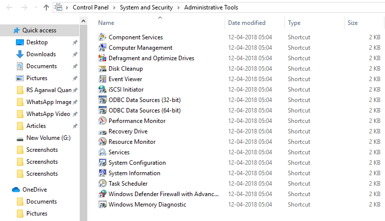 Administrative Tools window will open up