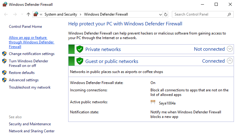 Click on 'Allow an app or feature through Windows Defender Firewall'