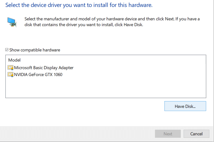 If you already have downloaded the Graphics card driver using Method 3 then click onHave Disk