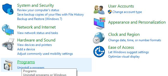 Click on Programs
