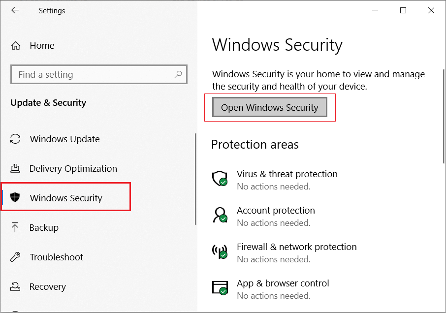 Click on the Windows Security then click on Open Windows Security button
