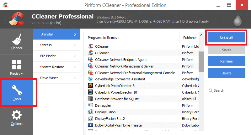 For download and install this application, Tools from the left pane and in the right pane of CCleaner