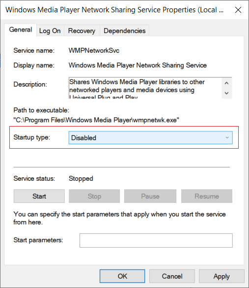 From the Startup type drop-down of Windows Media Network Sharing Service select Disabled