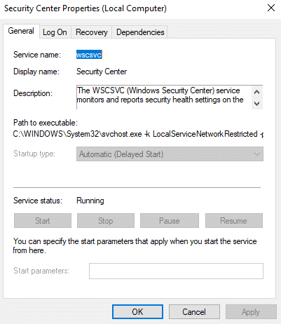 General dialog box will open up