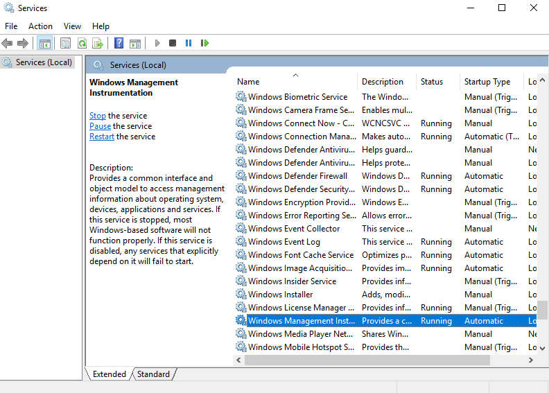 Go back to the Service page and look for Windows Management Instrumentation service