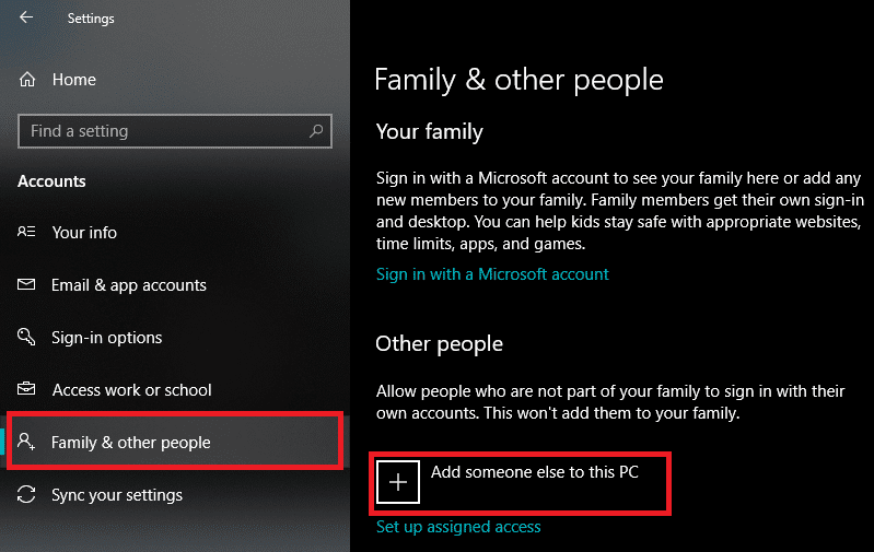 """Go to """"Family & other people"""" and click on Add someone else to this PC"""