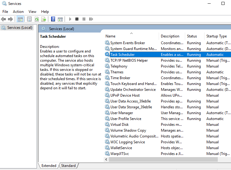 In the Service windows that opens up, search for Task Scheduler service