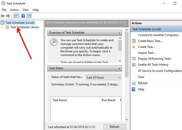 On the left side of Task Scheduler, click on Task Scheduler Library