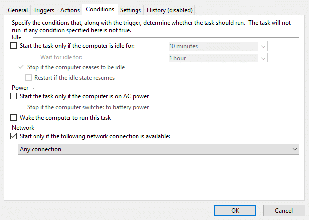 Once you check the checkbox, set it at Any connection