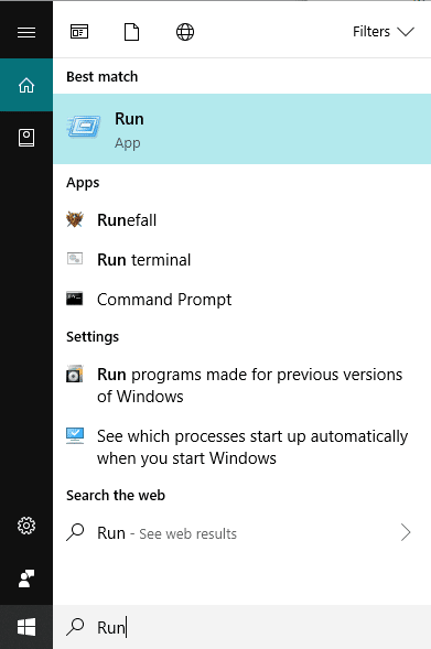Open Run dialog box by searching for it using search bar