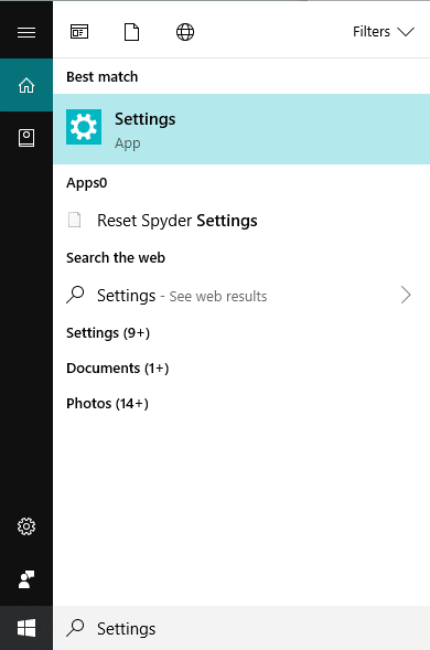 Open Settings by searching for it using search bar