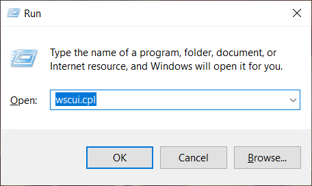 Press Windows key + R then type wscui.cpl and hit Enter