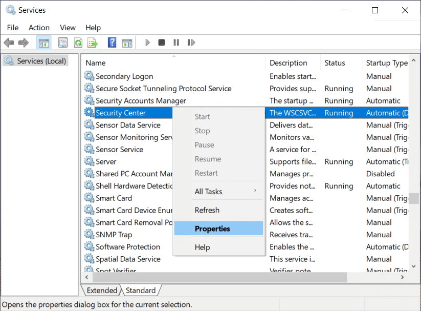 Right click on Security Center and select Properties