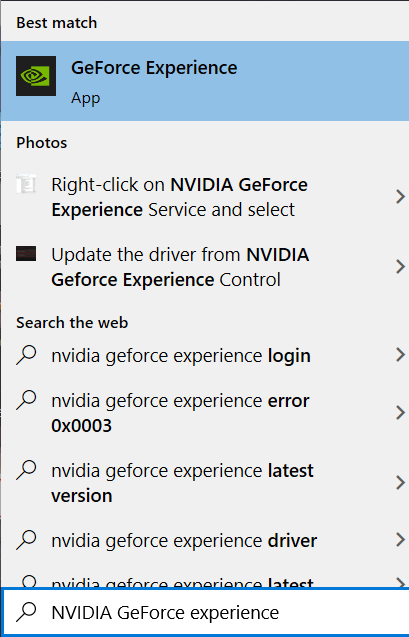 Search for NVIDIA GeForce experience in the Windows Search box