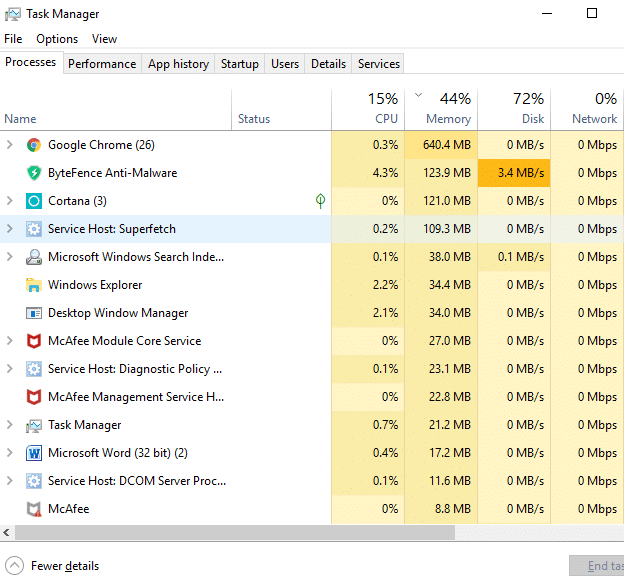 The above command will open the Task Manager window.