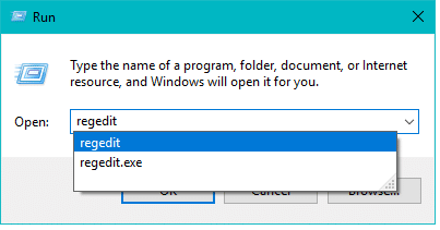 """Type """"regedit"""" &hit Enter for launching the Registry Editor"""