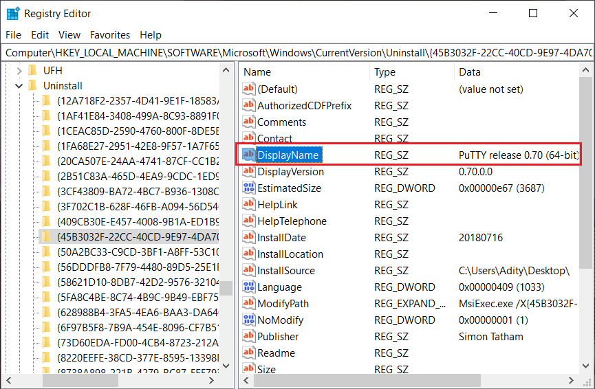 Under the Uninstall select the folder & check the value of DisplayName key