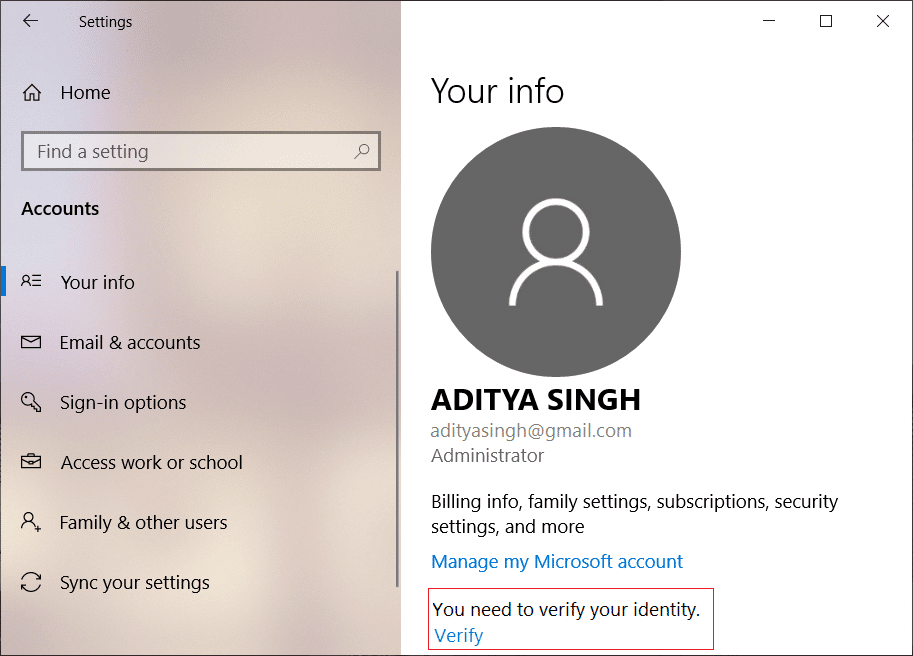 Verify this Microsoft User Account by clicking on the Verify Link