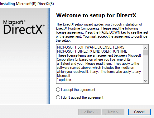 Install latest DirectX to Fix Application has been blocked from accessing Graphics hardware