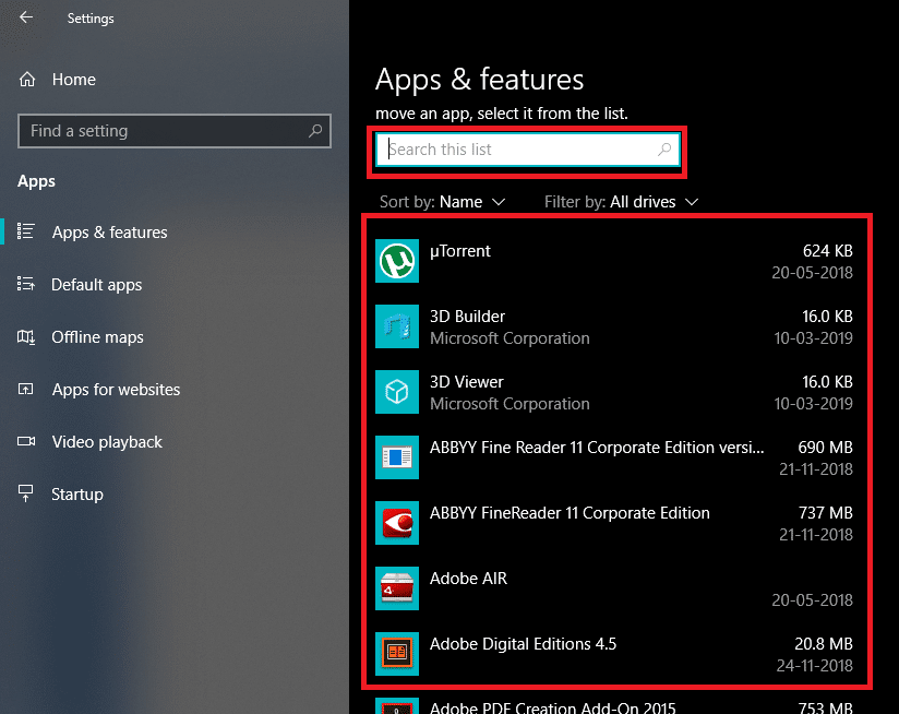 choose the program you want to uninstall or else Type the name of that program in the search box