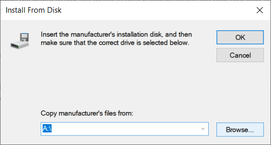 click Browse then navigate to the folder where you have downloaded the graphics card driver