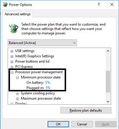 set Minimum processor state to low state, such as 5% or even 0% and click on OK.