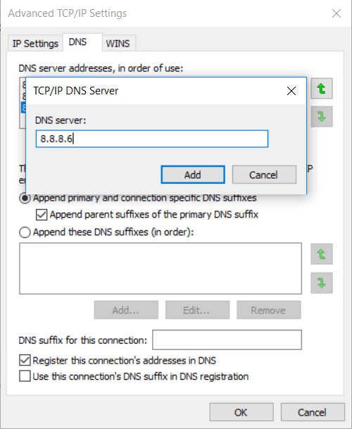 Add all the DNS server addresses you want