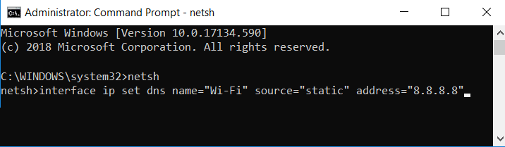 Change DNS IP settings with Command Prompt