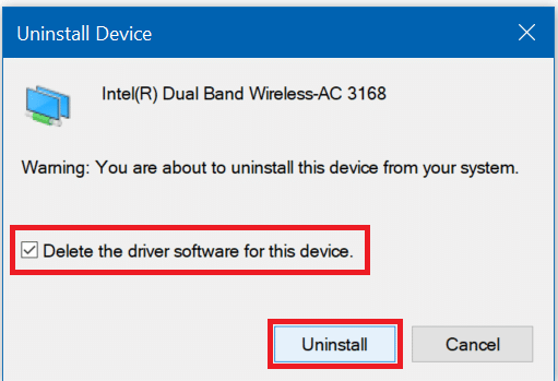 Checkmark Delete the driver software for this device & Click on Uninstall