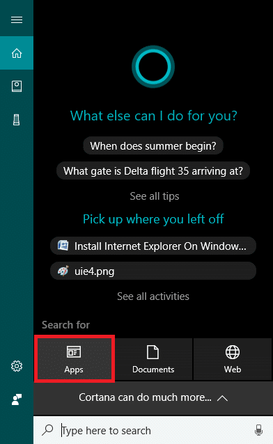 Click on Apps under the Cortana search