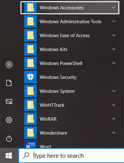 Find Windows Accessories folder under All Apps