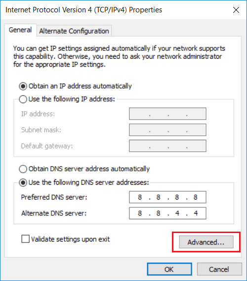 In case you want to add more than two DNS servers then click on Advanced button
