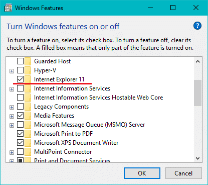 In the list, checkmark the box next to the Internet Explorer