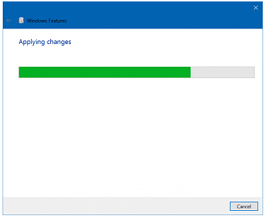 It will take some time for Windows to apply the changes