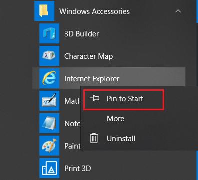 Right-click on Internet Explorer & choose the option Pin to taskbar