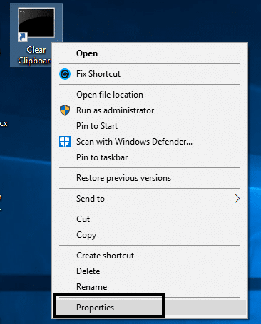 Right-click on the clear clipboard shortcut and choose Properties option