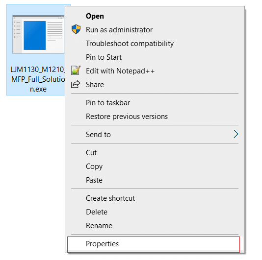 Right-click on the printer setup file and select Properties