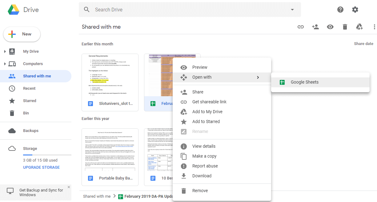 Right-click on the xlsx file and open it with Google Sheets