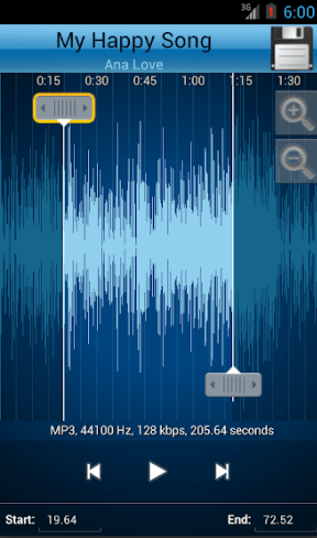 Scrollable waveform for the selected song with zoom in up to 4 levels