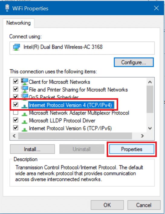 Select Internet Protocol Version 4 (TCPIPv4) and again click on the Properties button