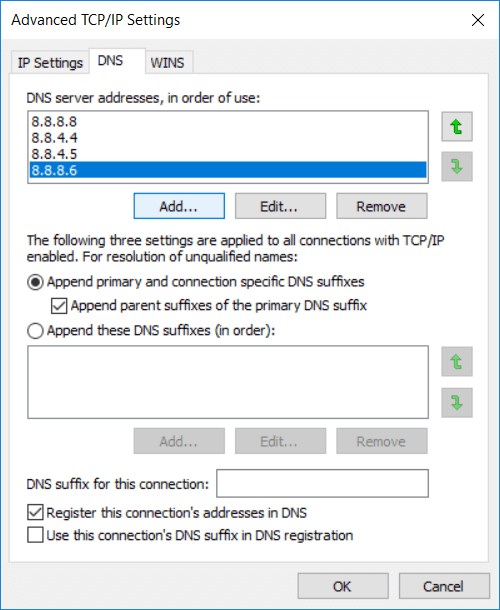 The priority of the DNS servers that you will add will be given from top to bottom