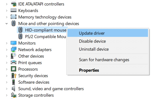 right-click your LogitechMouse and select Update Driver
